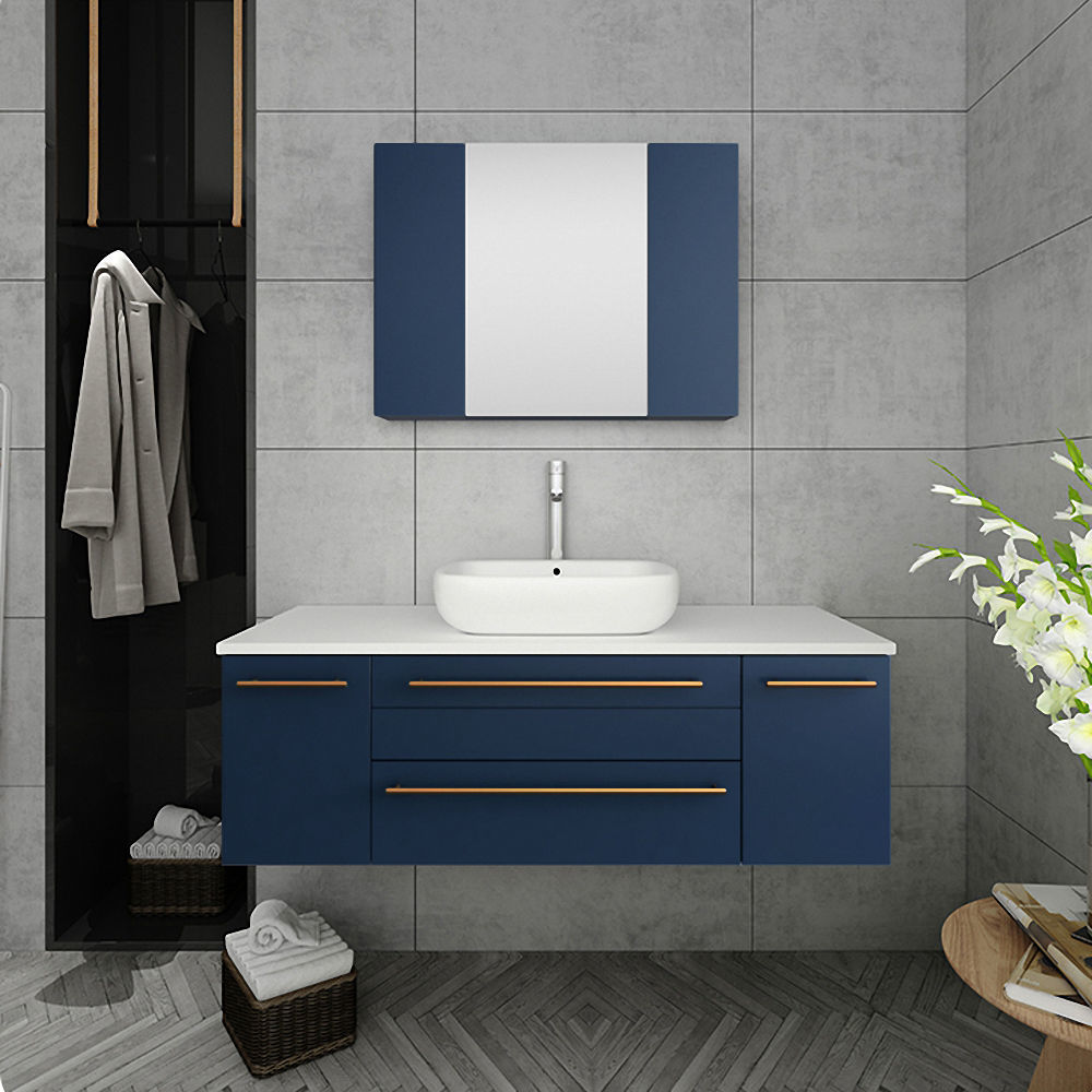 "Picture of Lucera 48"" Royal Blue Wall Hung Vessel Sink Modern Bathroom Cabinet"
