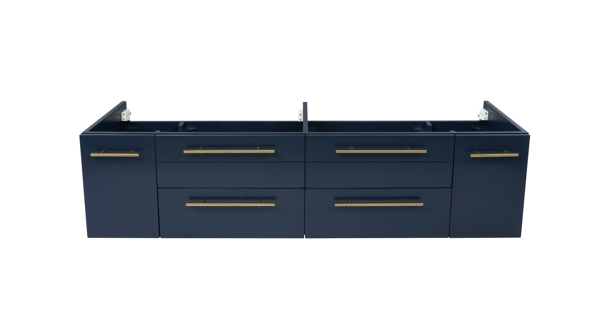 "Picture of Lucera 60"" Royal Blue Wall Hung Double Undermount Sink Modern Bathroom Cabinet"