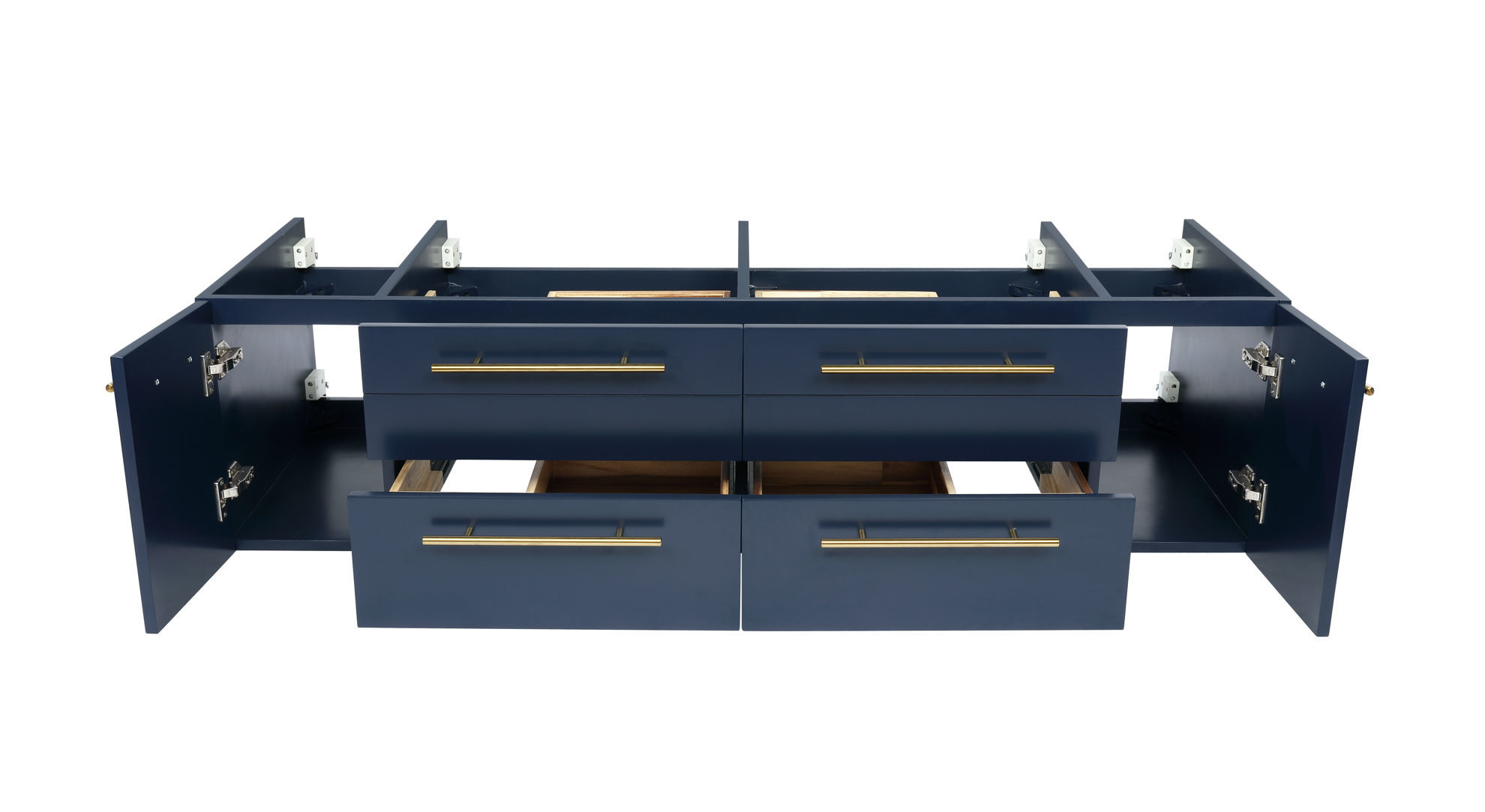 "Picture of Lucera 60"" Royal Blue Wall Hung Double Vessel Sink Modern Bathroom Cabinet"