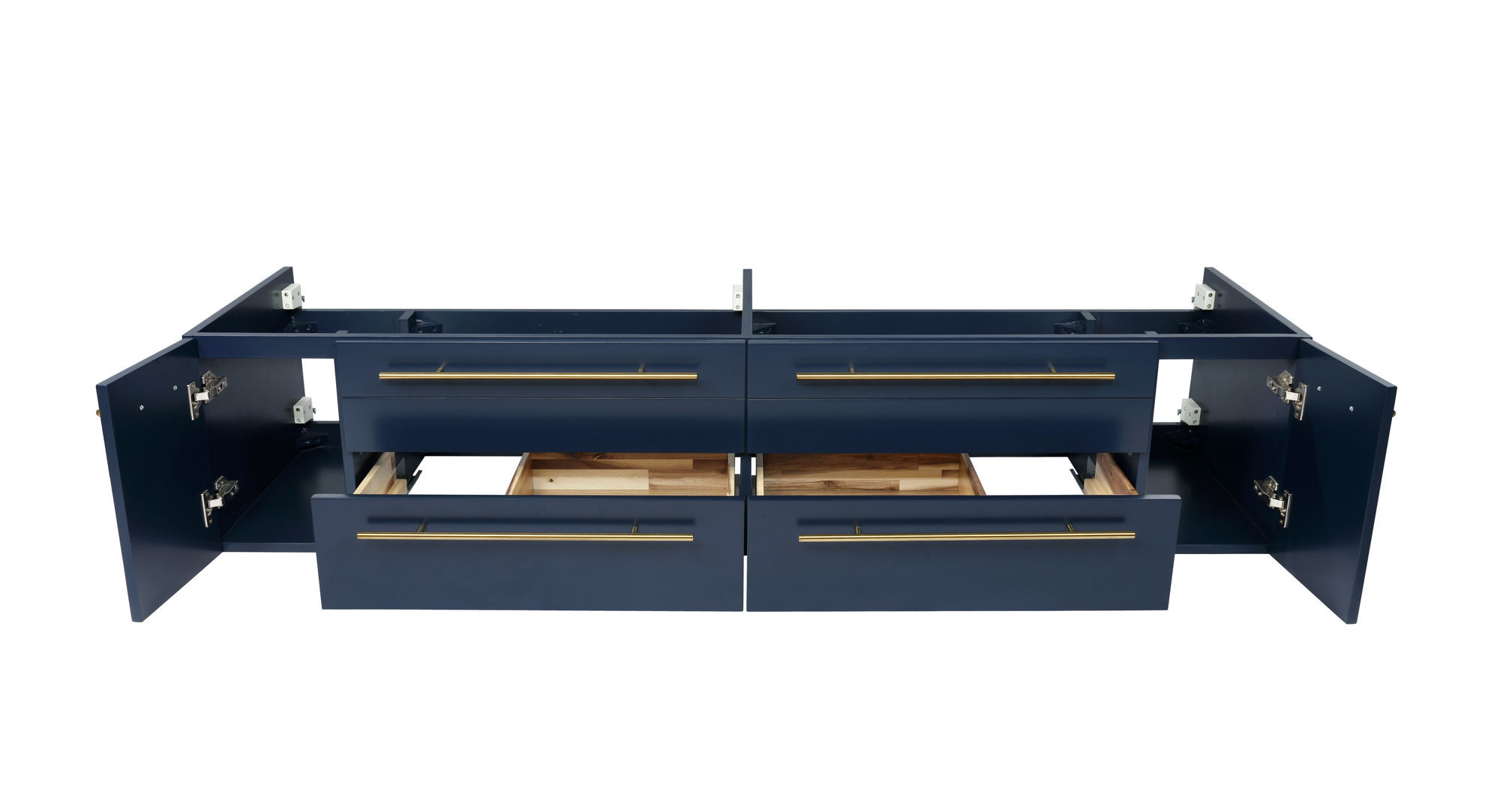 "Picture of Lucera 72"" Royal Blue Wall Hung Double Undermount Sink Modern Bathroom Cabinet"