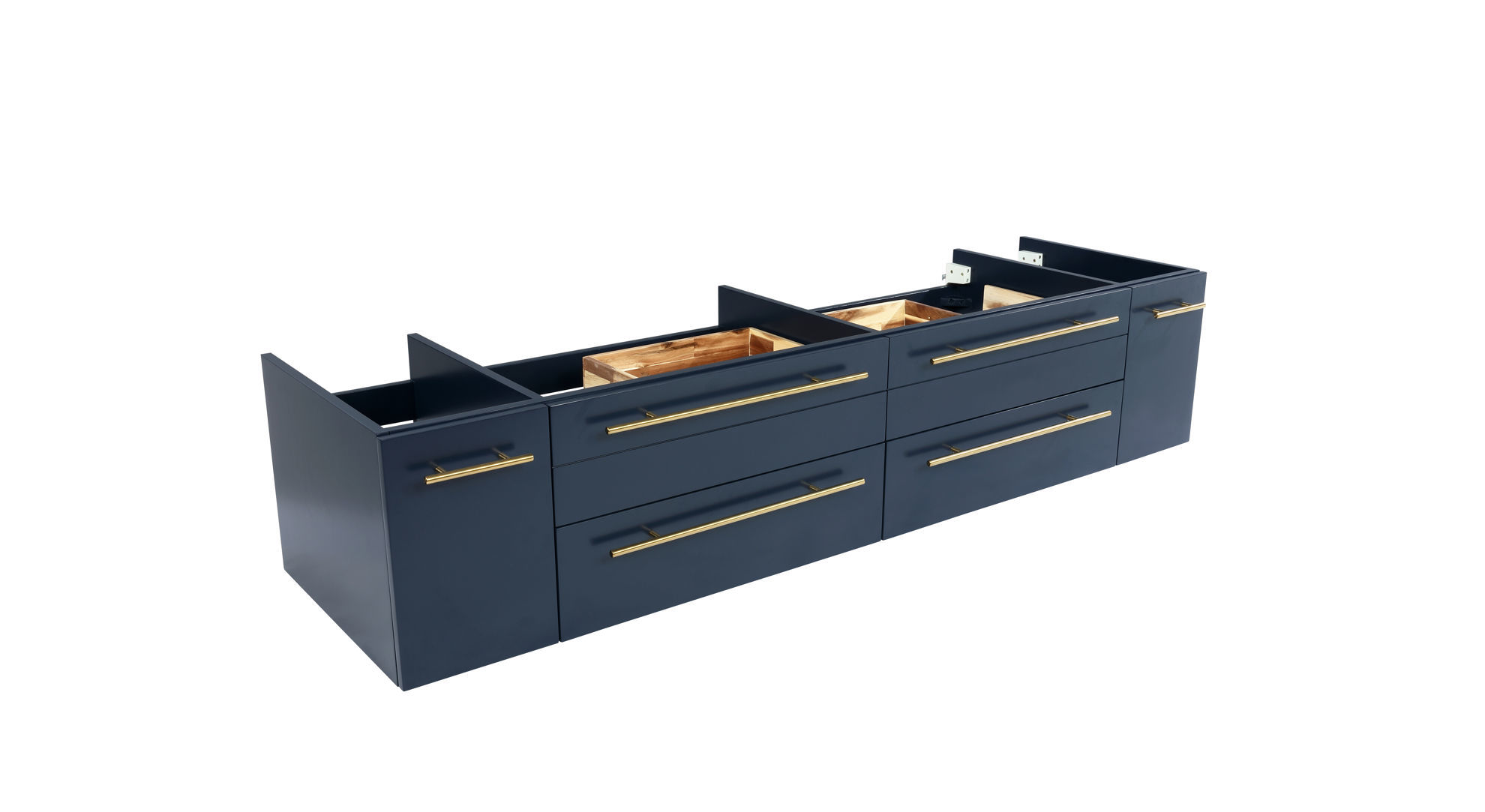 """Picture of Lucera 72"""" Royal Blue Wall Hung Double Vessel Sink Modern Bathroom Cabinet"""