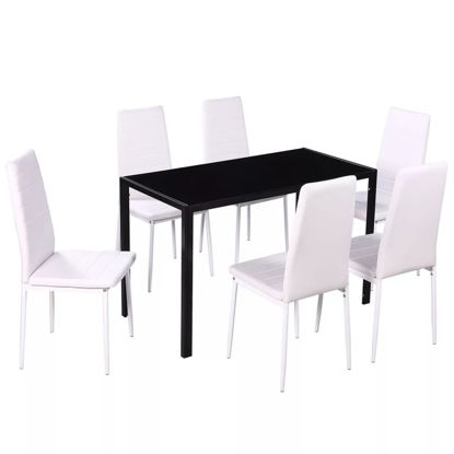 Picture of Kitchen Dining Set - 7pc Black and White