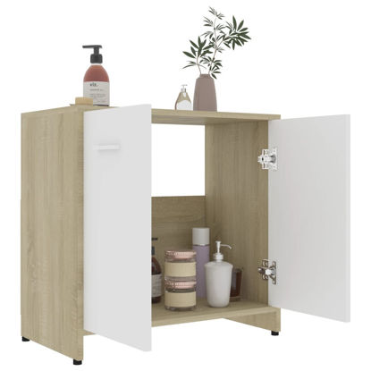 Picture of Bathroom Cabinet - White and Sonoma Oak