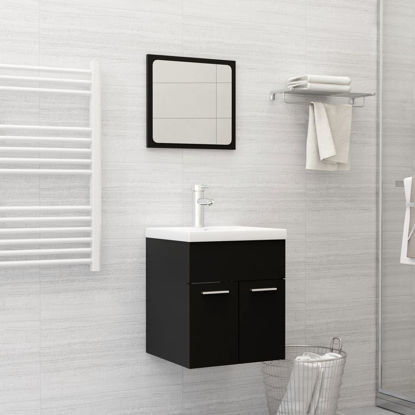 """Picture of 15"""" Bathroom Furniture Set with Mirror - Black"""