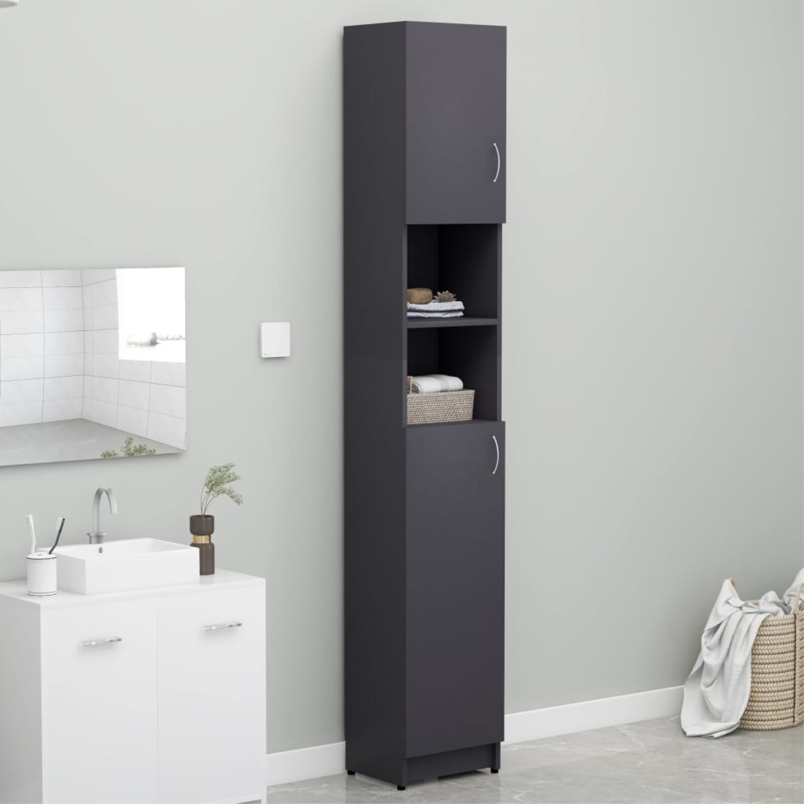 """Picture of 12"""" Linen Cabinet - Gray"""