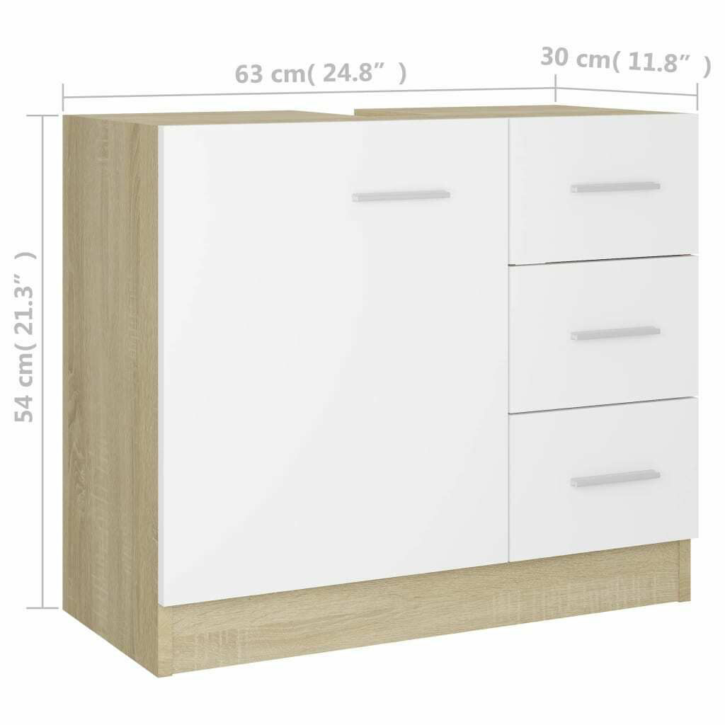 """Picture of 24"""" Vanity Cabinet - White and Sonoma Oak"""