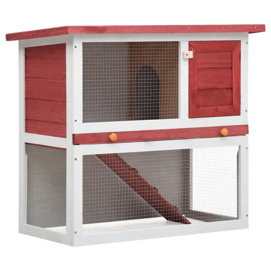 Picture of Outdoor Rabbit Hutch - Red Wood