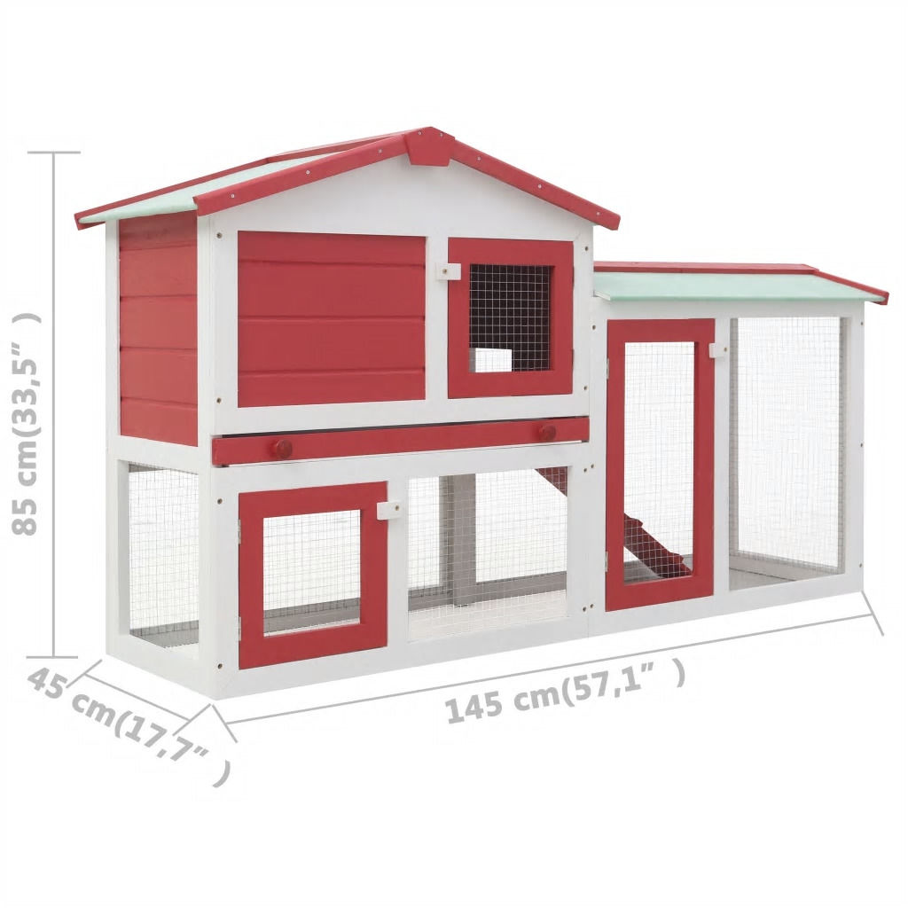 Picture of Outdoor Large Rabbit Hutch - Red and White Wood