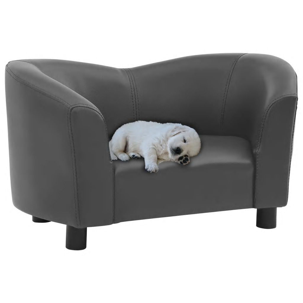 Picture of Dog Faux Leather Sofa - Gray