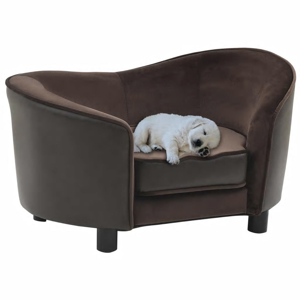 Picture of Dog Plush and Faux Leather Sofa - Brown
