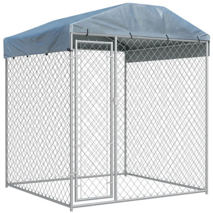 Picture of Outdoor Dog Kennel with Canopy Top - 6'
